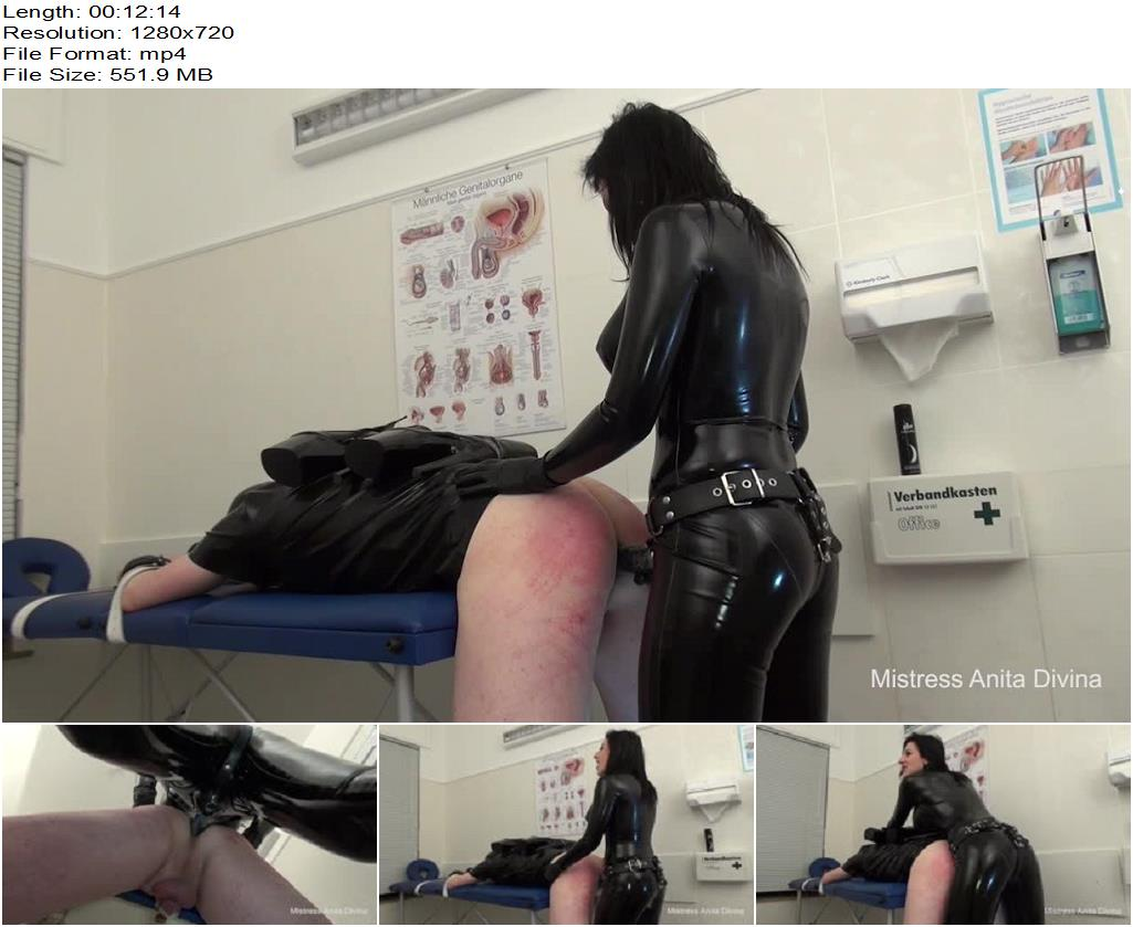 Mistress Anita Divina – Rubber catsuit strapon in the medical room - Strap-on, Prostate Massage