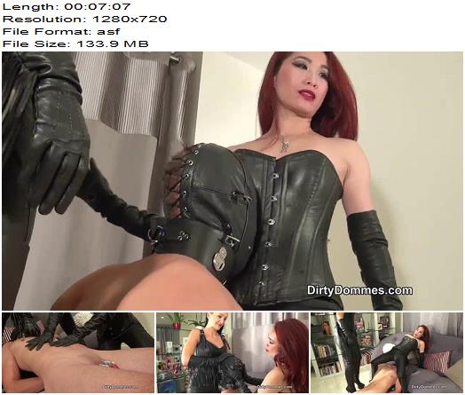 DirtyDommes – Leather teased chastity slave part 2 - Dual Domination, Female Domination