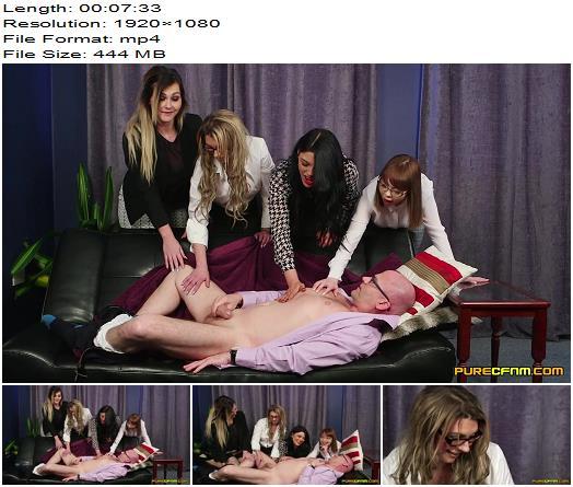PureCFNM – Cherry English, Lola Lee, Roxi Keogh, Sapphire Rose – Meet Her Boss - Male Ejaculation, Female Domination