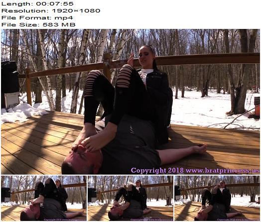 Brat Princess 2 – Natalya – Uses Human Ashtray in the Snow  - Femdom, Human Furniture