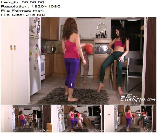 Goddess Ella Kross – Kicking a Slave`s Balls in with Tessa Ray – Ballbusting - Double Domination, Ball Abuse