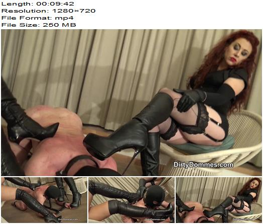 Dirty Dommes – Boot cleaner in bondage stocks -  Fetish Liza  - Femdomboot, Double Domination