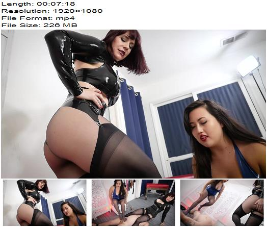 Stella Liberty – Breaking in Our Latex While Breaking Your Body with Andrea Untamed and Jazmin Wu  - Femdom Feet, Face Sitting