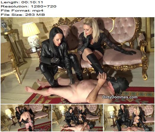 DirtyDommes - Desperate leather boot slave part 2 - Fetish Liza - Boot Worship - Sperm, Blond Hair