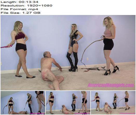 The Mean Girls - Goddess Platinum, Goddess Maci, Princess Amber - Playing With The Old Man (1080 HD) - Whipping - Whipped, Corporal Punishment