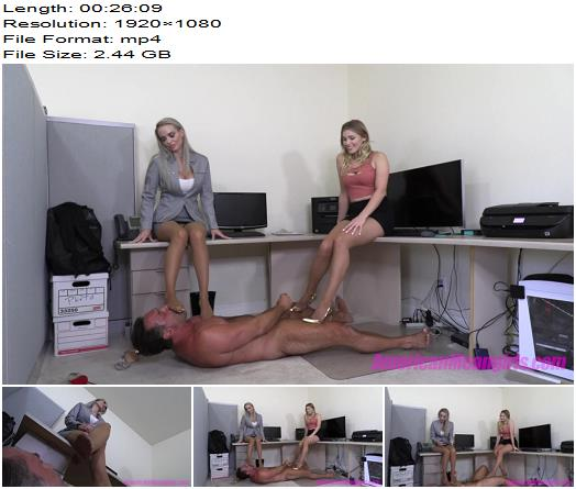 The Mean Girls - Goddess Platinum, Princess Amber - Office Footboy Punishment (1080 HD) - Office Domination - Femdom, AmericanMeanGirls
