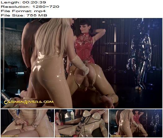 Carmen Rivera - Bimbo Doll Ivana, Carmen Rivera, Colby Jansen - Love Is In The Ass - Part 2 - Triple Domination, Rubber