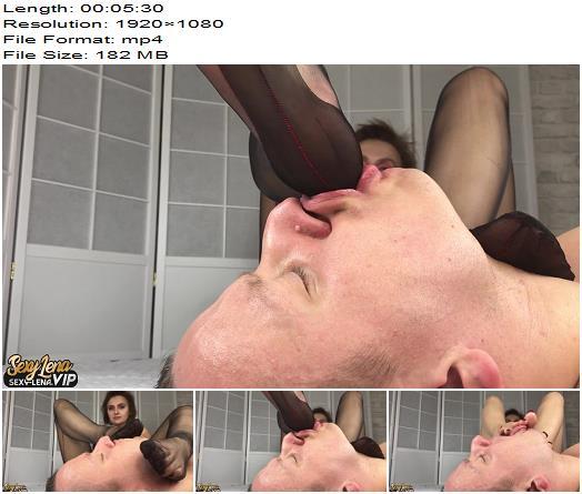 Goddess Lena - Nylon Feet Licking (1080 HD) - Foot Worship - Female Domination, Foot Fetish