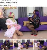 Bound Maid Sharon and Mistress Lorraine in video 'Training Her Sissy – Part 2' of 'The English Mansion' studio  - Female Domination, Ebony