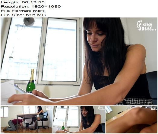 Czech Soles  Office janitor worships perfect feet and heels under the table preview