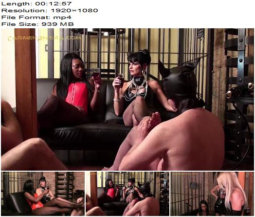 Lady Sahara, Carmen Rivera, Lady Natalie Black, Slave DD starring in video 'ABSOLUTE FEMDOM (6 of 9)' of 'Carmen Rivera' studio - Blindfold, Bondage