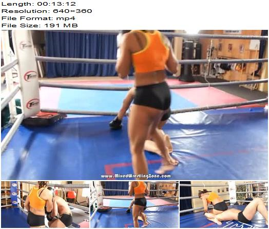 Mixed Wrestling Zone - Kyra vs Mike - Down and Out - Kicking, Femdom