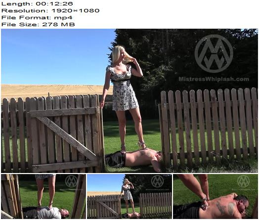 Mistress Nikki Whiplash  Nikki tramples human doormat outdoors in sexy Louboutin heels  WL1517  Femdom preview