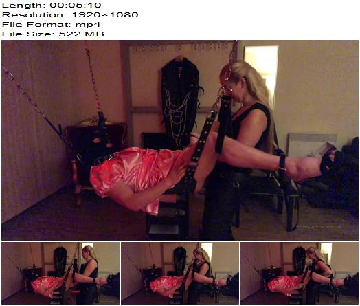Miss Sandra  Pegging The Sissy On The Sling  StrapOn preview