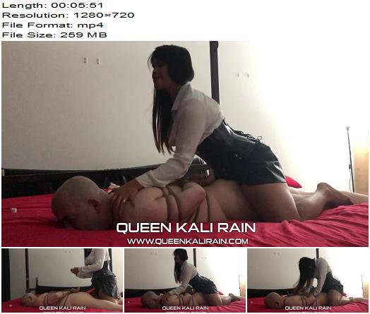 Queen Kali Rain  here is a video of me and a dear fellow mistress enjoying the whimpers of my loyal slave  Bondage preview