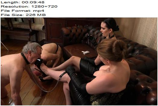 SADO LADIES Femdom Clips  Mistress Nemesis and Mistress Cloe  The Shoelicking Challange  Femdom preview