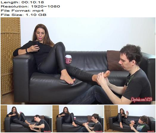 Goddess Zia  Lucky loser rubs Goddess feet  Fetish preview