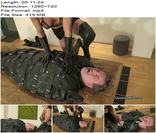 Queens of Kink  Nomi Melone  Leather Bagged Human Ashtray  Bondage preview