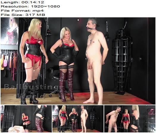 Ballbusting World PPV  Sexy Blondes Nikki  Frankie ballbust their harmonicagagged slave BB1498 preview