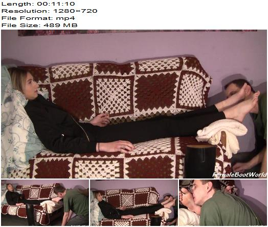 Female Boot World  Foot Worship on Sofa  Femdom preview