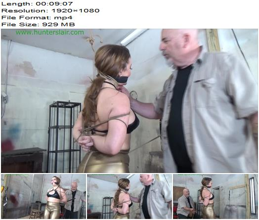 Hunterslair  Carmen Valentina Bound in leather cords for corporal punishment preview